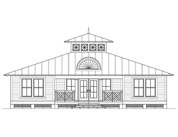 Coastal, Florida, Southern House Plan 73603 with 3 Beds, 2 Baths Rear Elevation