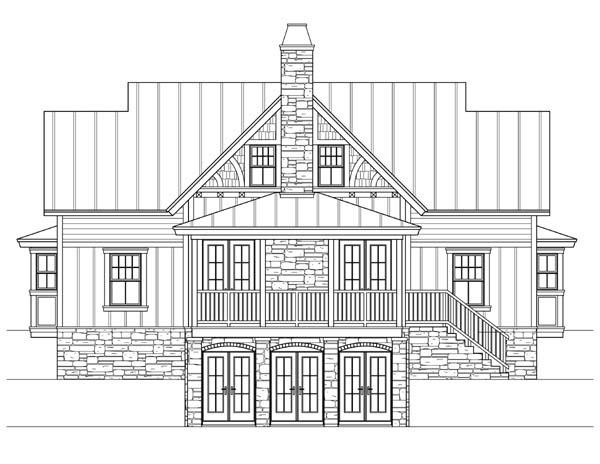 Craftsman, Traditional House Plan 73609 with 3 Beds, 4 Baths Rear Elevation