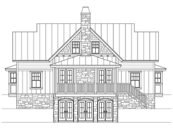 Craftsman Traditional Rear Elevation of Plan 73609