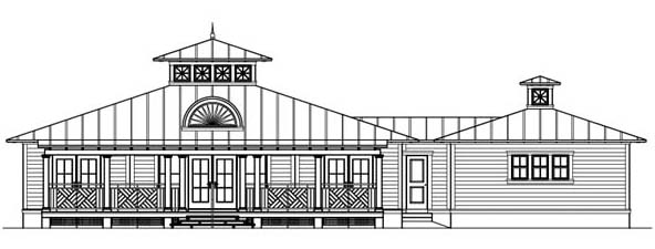 Florida, Ranch House Plan 73613 with 3 Beds, 4 Baths, 2 Car Garage Rear Elevation