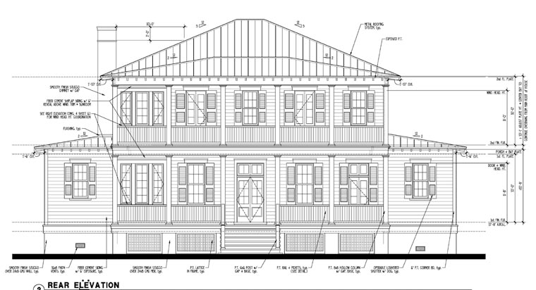 Historic Southern House Plan 73727 Rear Elevation