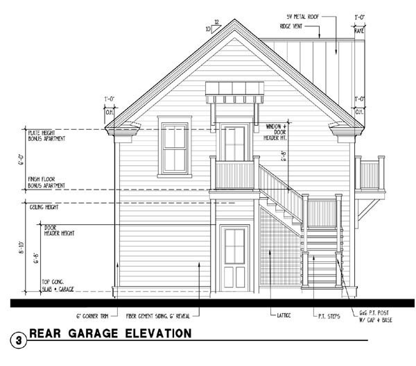 Historic Garage Plan 73752 Rear Elevation