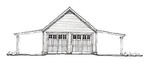Historic 4 Car Garage Plan 73765 Elevation