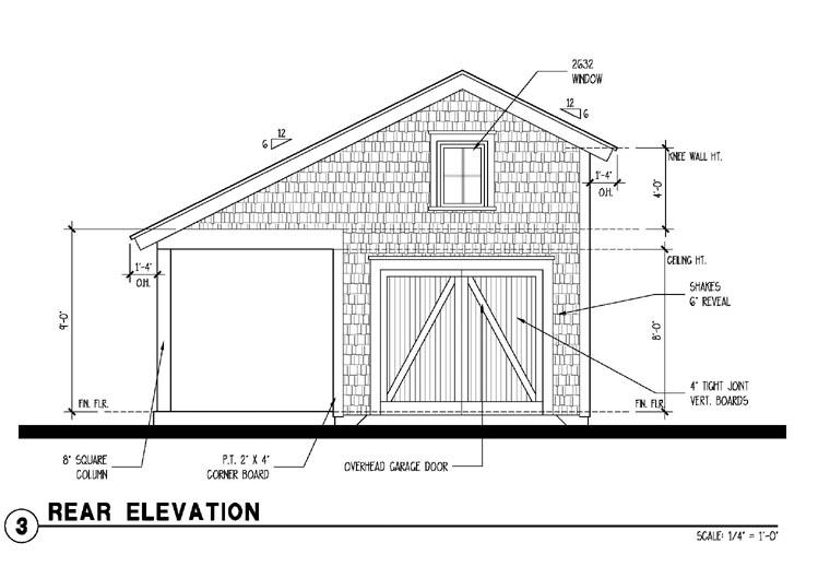 Historic Garage Plan 73776 Rear Elevation