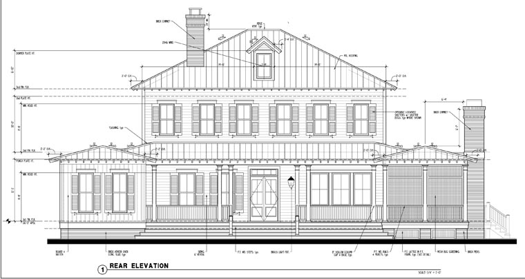 Country, Historic House Plan 73877 with 5 Beds, 5 Baths Rear Elevation