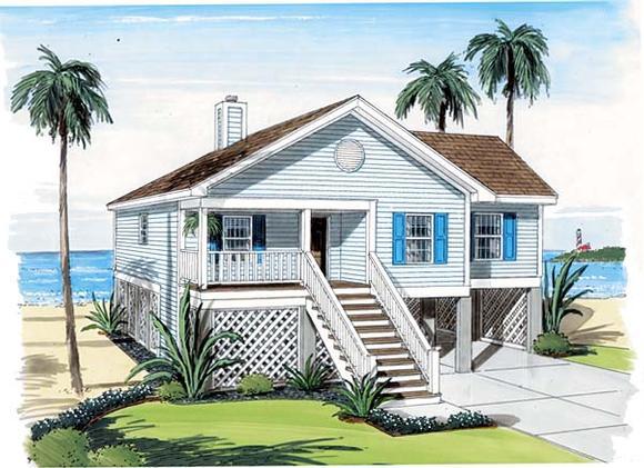 Coastal, Traditional House Plan 74006 with 3 Beds, 2 Baths, 2 Car Garage Elevation
