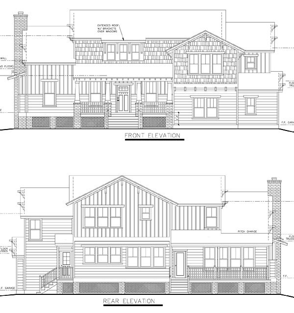 Rear Elevation of Bungalow   Cottage   Craftsman   Traditional   House Plan 74012
