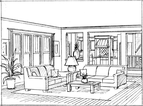 Rendering from Family Room to Dining-Kitchen Area
