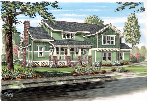 Elevation of Cottage   Craftsman   House Plan 74013
