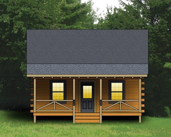 Log House Plan 74102 Elevation