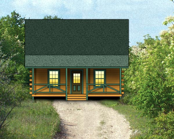 Log House Plan 74104 Elevation