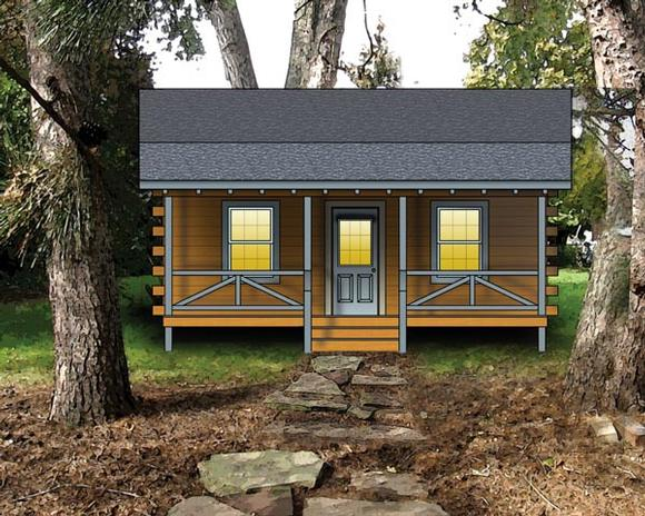 Log, Narrow Lot, One-Story House Plan 74107 with 2 Beds Elevation