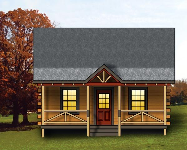 Log, Narrow Lot House Plan 74108 with 1 Beds, 1 Baths Elevation