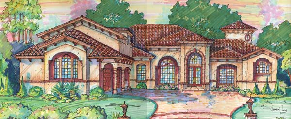 Mediterranean, Southwest House Plan 74211 with 5 Beds, 7 Baths, 3 Car Garage Elevation