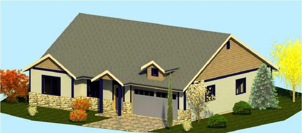 Coastal, Cottage, Country, Craftsman, Ranch House Plan 74309 with 3 Beds, 2 Baths, 2 Car Garage Elevation