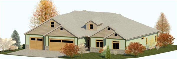 Country, Craftsman, Ranch, Traditional House Plan 74311 with 3 Beds, 3 Baths, 3 Car Garage Elevation