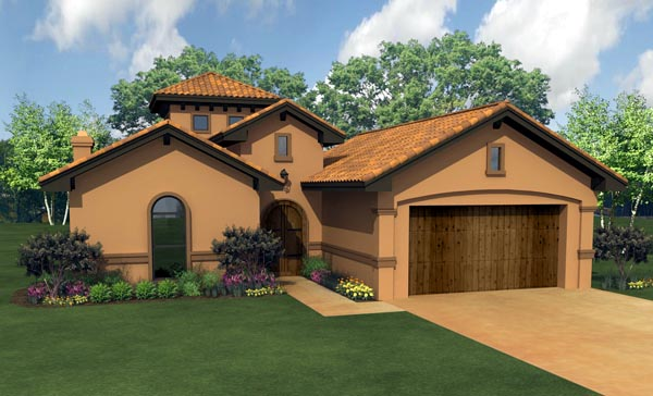 Mediterranean House Plan 74534 with 3 Beds, 4 Baths, 2 Car Garage Elevation