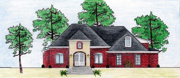 European House Plan 74615 with 3 Beds, 3 Baths, 2 Car Garage Elevation