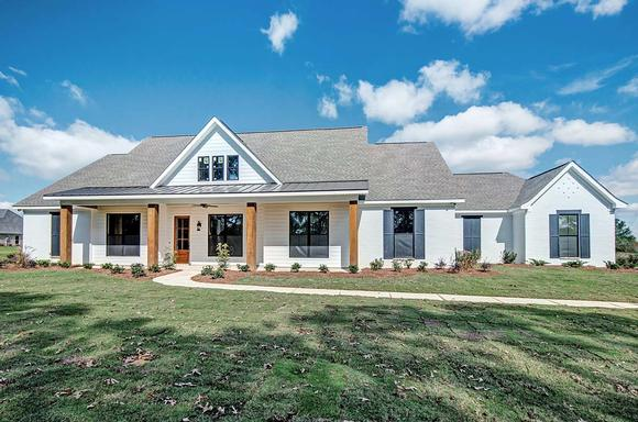 Craftsman, Farmhouse, Traditional House Plan 74637 with 4 Beds, 3 Baths, 2 Car Garage Elevation
