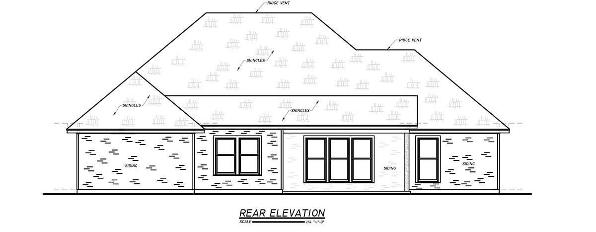 Cottage, Traditional House Plan 74652 with 3 Beds, 3 Baths, 2 Car Garage Rear Elevation