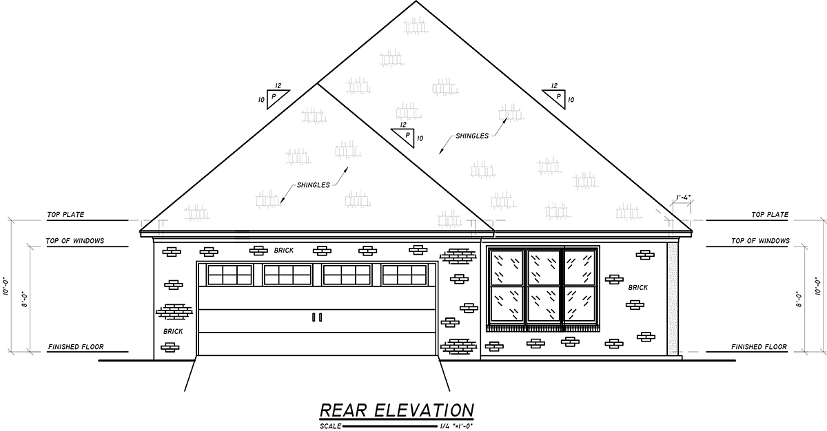 Craftsman Narrow Lot Traditional Rear Elevation of Plan 74654