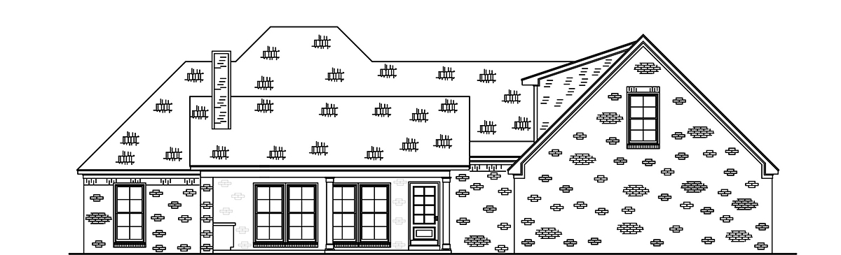 French Country, Traditional House Plan 74660 with 3 Beds, 2 Baths, 2 Car Garage Rear Elevation