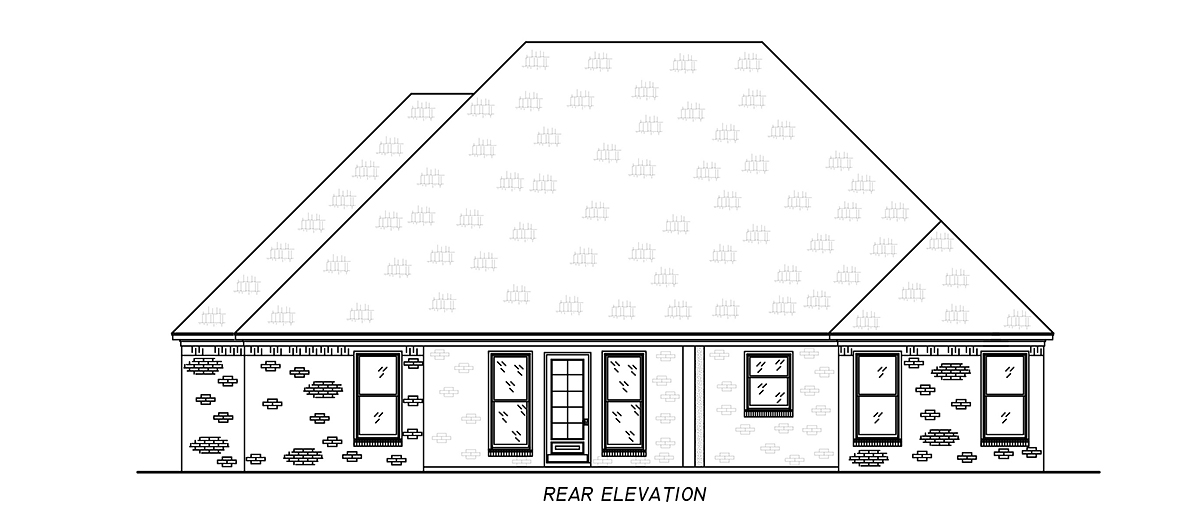 French Country, Traditional House Plan 74661 with 4 Beds, 3 Baths, 2 Car Garage Rear Elevation