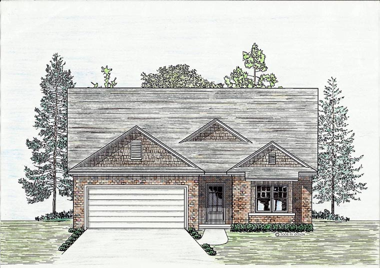 Cottage, Country, European House Plan 74701 with 3 Beds, 2 Baths, 2 Car Garage Elevation