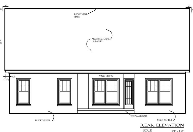 Cottage, Country, European House Plan 74701 with 3 Beds, 2 Baths, 2 Car Garage Rear Elevation