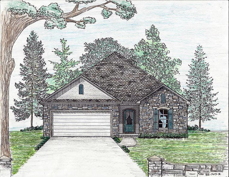 Cottage, Country, European House Plan 74703 with 3 Beds, 2 Baths, 2 Car Garage Elevation