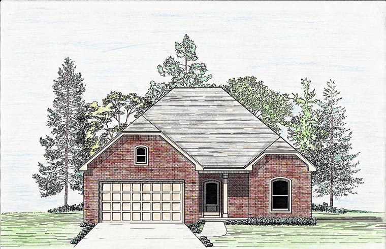 Cottage, Country, European, Southern House Plan 74704, 2 Car Garage Elevation