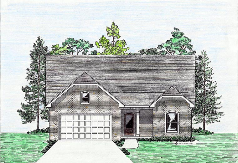 Cottage, Country, European, Southern House Plan 74705, 2 Car Garage Elevation