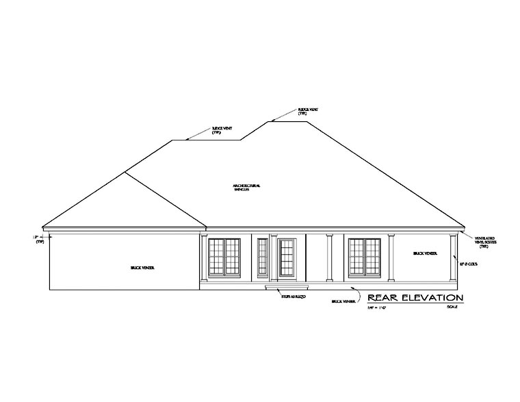 Cottage, Country, European, Southern House Plan 74705, 2 Car Garage Rear Elevation