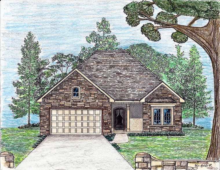Cottage, Country, European, Southern House Plan 74706, 2 Car Garage Elevation