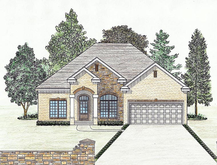 Cottage Country Craftsman Ranch Southern House Plan 74723 Elevation