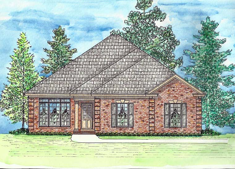 Cottage, European, Southern, Traditional House Plan 74728 with 3 Beds, 2 Baths, 2 Car Garage Elevation