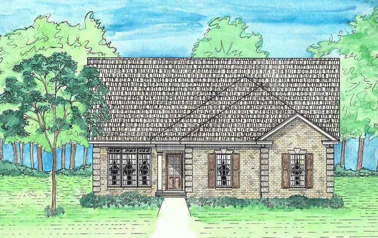 Cottage, European, Southern, Traditional House Plan 74729 with 3 Beds, 2 Baths, 2 Car Garage Elevation