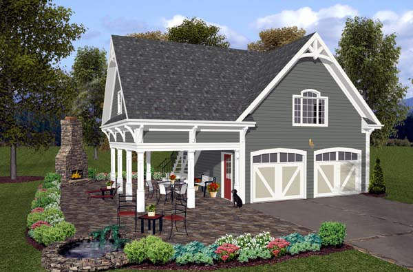 2 Car Garage Plan 74800 Elevation