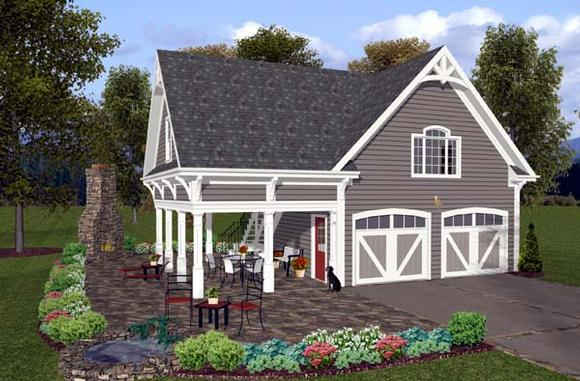 Craftsman, Traditional 2 Car Garage Apartment Plan 74803 with 1 Beds, 1 Baths Elevation