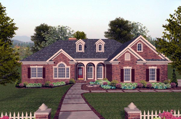 Elevation of Traditional   House Plan 74806