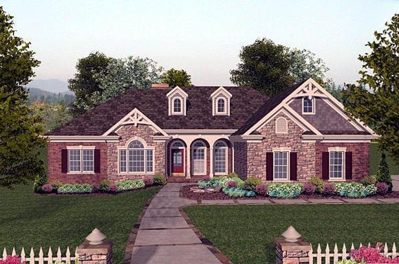 Craftsman, European House Plan 74807 with 4 Beds, 3 Baths, 3 Car Garage Elevation