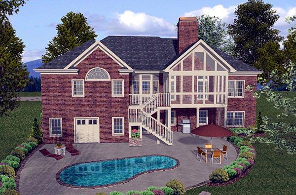 Craftsman, European House Plan 74807 with 4 Beds, 3 Baths, 3 Car Garage Rear Elevation