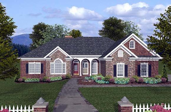 Craftsman, Ranch House Plan 74810 with 4 Beds, 4 Baths, 3 Car Garage Elevation