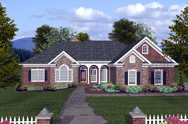 House plan 74810 for Long ranch style house plans