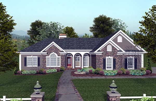 Elevation of Craftsman   Ranch   House Plan 74811