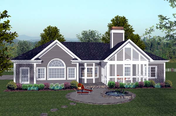 Craftsman, Ranch House Plan 74811 with 3 Beds, 4 Baths, 3 Car Garage Rear Elevation