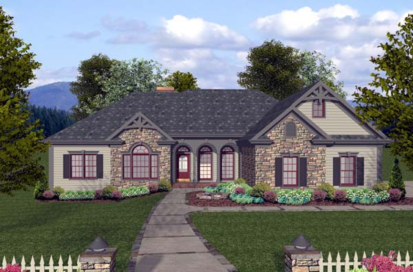 Elevation of Craftsman   Ranch   House Plan 74812