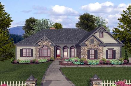 Craftsman, European, Ranch House Plan 74812 with 3 Beds, 4 Baths, 3 Car Garage