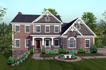 Craftsman House Plan 74817 with 4 Beds, 4 Baths, 3 Car Garage