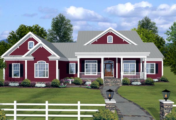 House plan 74834 at for Ranch house elevations